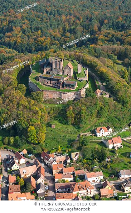 France, Bas Rhin 67, Lichtenberg village and castle aerial view
