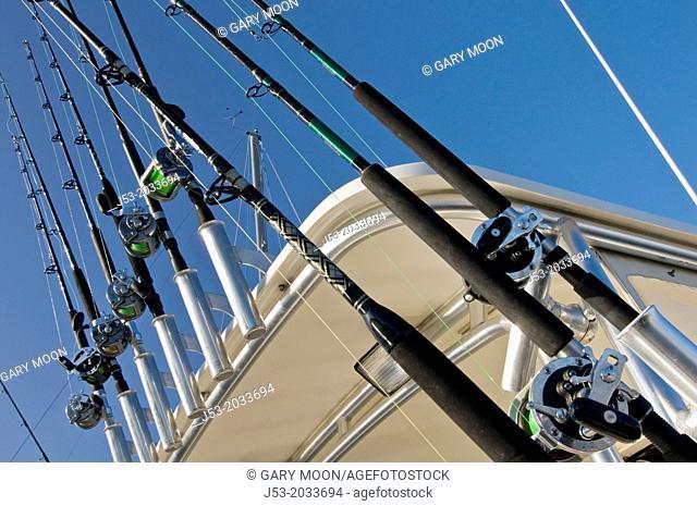 Fishing poles on sportfishing charter boat, Ilwaco, Washington USA