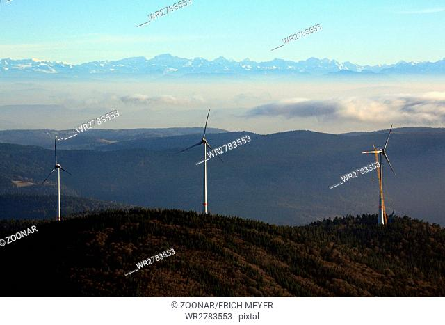 Gersbach, Wind park on the Rohrenkopf looking to the Alps