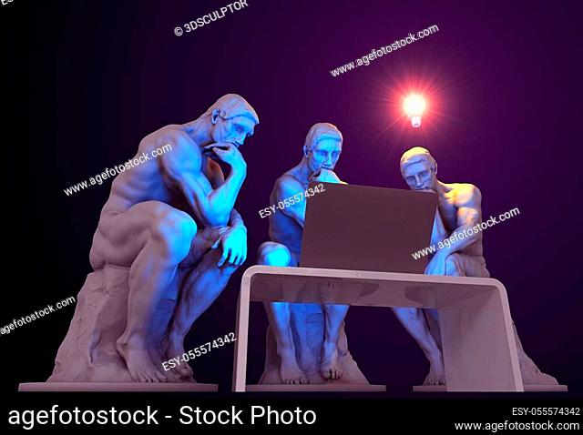 Three thinkers with a computer and one of them has a glowing light bulb above his head as a symbol of a new idea. 3D Illustration