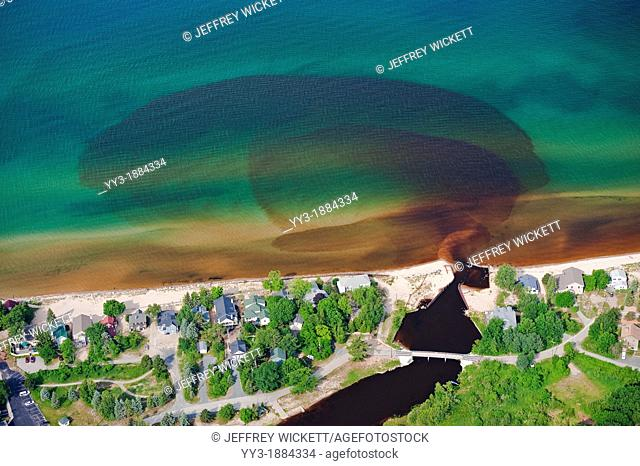 Aerial view of the Lincoln River discharge into Lake Michigan, USA