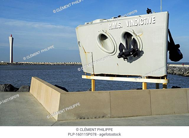 Bow of the ship HMS Vindictive, World War One memorial, and the Eastern dam in the Ostend / Oostende harbour, West Flanders, Belgium