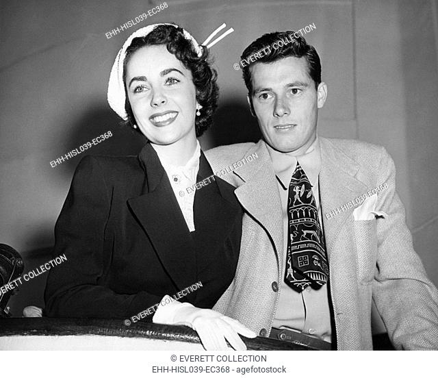 Mr. and Mrs. Conrad Hilton sailing on the Queen Mary for an extended European Honeymoon. May 24, 1950. Nicky Hilton remained Elisabeth Taylor's husband for less...