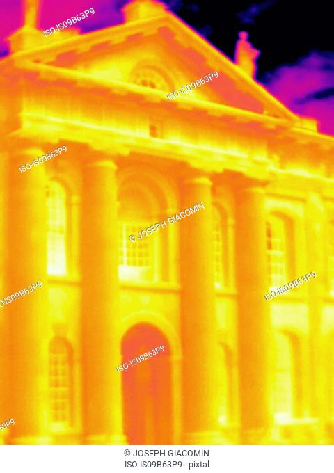 Thermal image of Bodleian Library, Oxford, England, UK