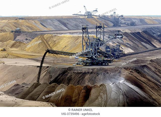 GERMANY, JACKERATH, 05.06.2013, Excavators in the lignite mining site Garzweiler - Jackerath, Northrhine-, Germany, 05/06/2013