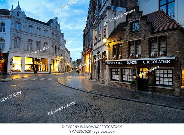 Brugge street and Dumon chocolatier in the morning