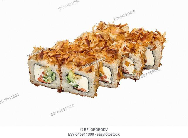 Japanese cuisine, sushi rolls, isolated on white background, close-up