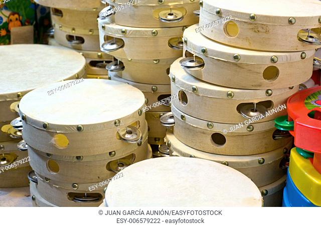 Stall of panderetas, the spanish tambourine in a Christmas street market