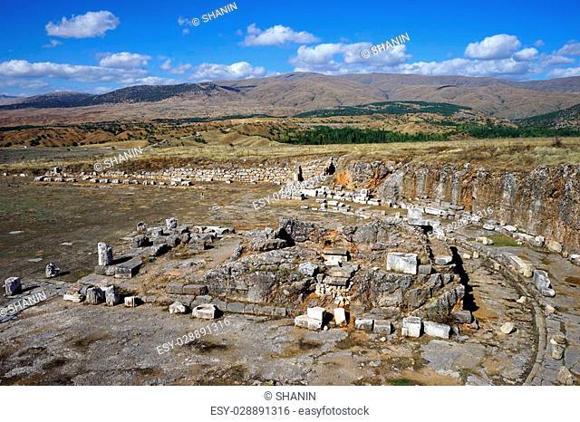 Ruins of roman temple in Antiohia Pisidia near Yalvac, Turkey