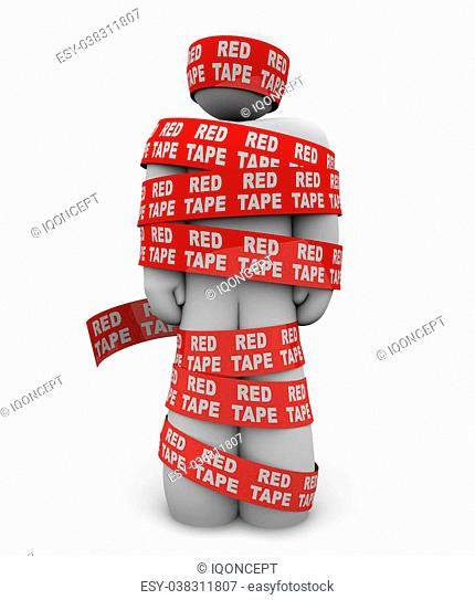 A person is wrapped up in red ribbon with the words Red Tape repeated all over it, representing getting caught up in a mess of bureaucratic rules