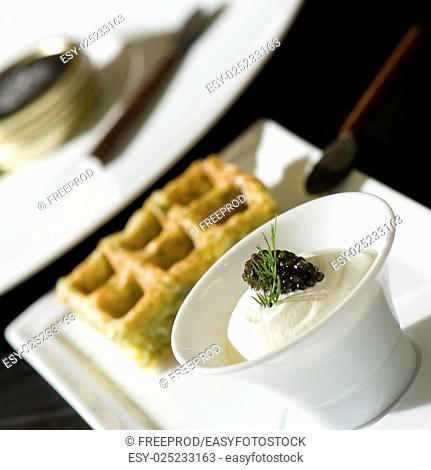 Festive salad with black caviar, gourmet restaurant food, France