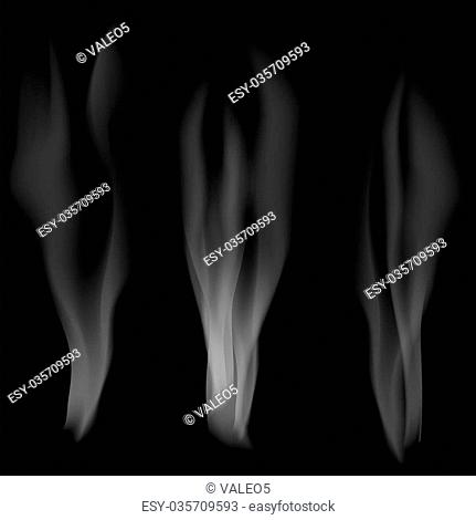 Smoke Set on Dark Background. Delicate White Cigarette Smoke Waves on Black Background