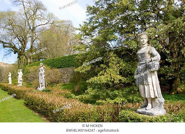 statues in Torosay castle gardens, United Kingdom, Scotland, Isle of Mull