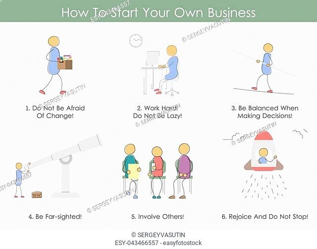 Vector infographic in hand drawing doodle style. How To Start Your Business. Six icons steps. Concept of startup, hard work, teamwork