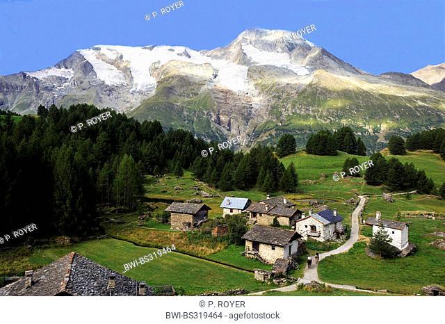 panoramic view over the village Monal at Mont Pourri (3,779 m), France, Savoie, Sainte-Foy-Tarentaise