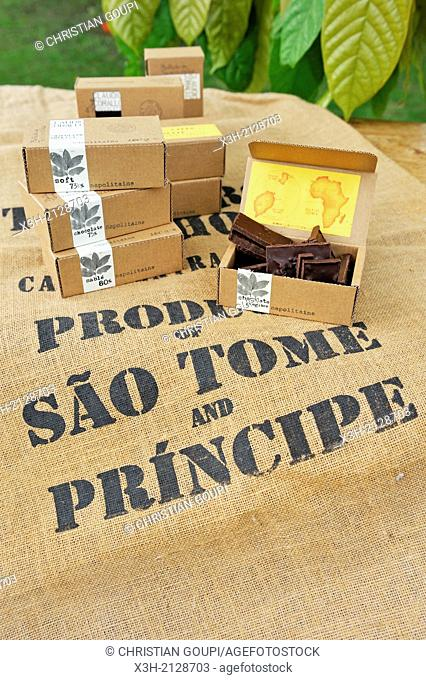 samples of products by Claudio Corallo, agronomist, cocoa producer and chocolate maker, city of Sao Tome, Sao Tome Island, Republic of Sao Tome and Principe
