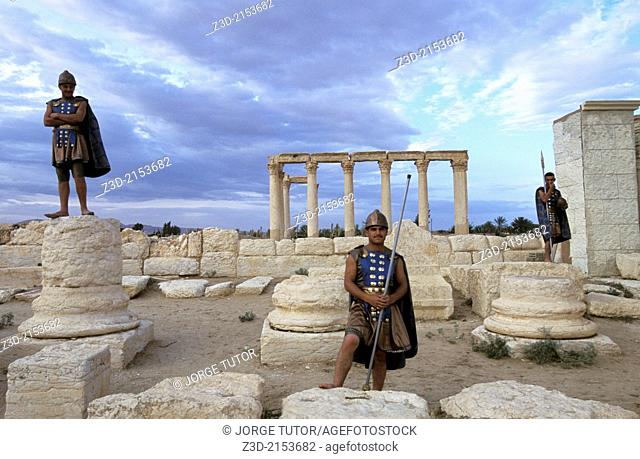 Syrians dressed as Roman in the ancient Aramaic city of Palmyra. Tadmur, Syria. UNESCO World Heritage Site