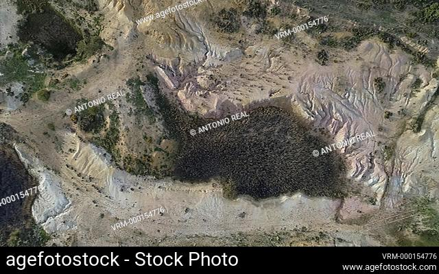 Aerial view with drone. Abandoned quarry. Almansa Albacete