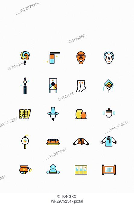 Set of various icons related to Korean tradition