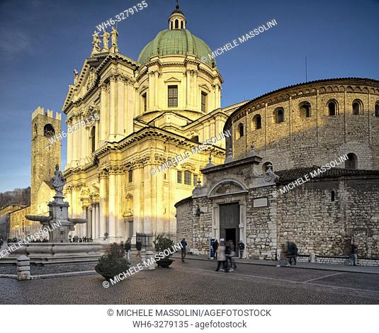 The new cathedral and the Vecchio cathedral of Brescia, in the wonderful Piazza del Duomo
