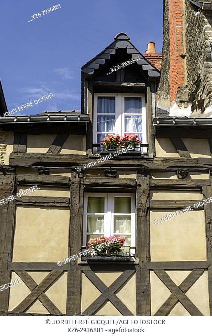 Old house in Josselin, Morbihan, Brittany, France, Europe