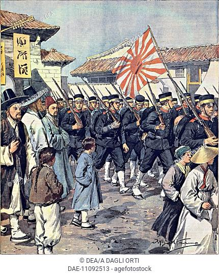 Arrival of Japanese troops in Korea, by Achille Beltrame (1871-1945), illustration from La Domenica del Corriere, 21 February, 1904