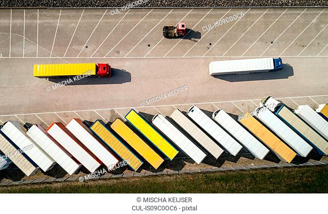 Trailers parked before being loaded onto ferry to UK, overhead view, Hook of Holland, Zuid-Holland, Netherlands