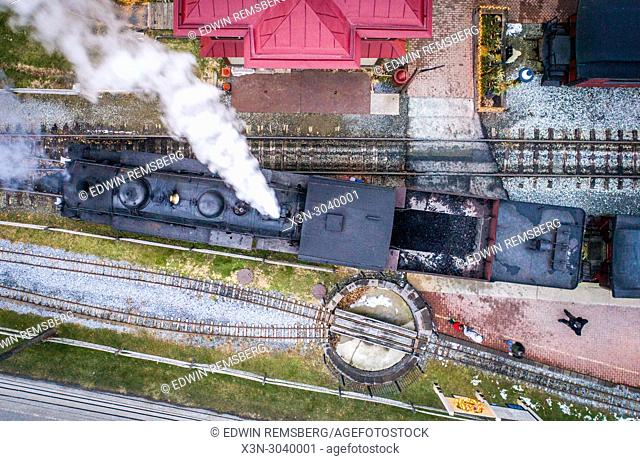 Train passes by on the Strasburg Railroad in Strasburg, Pennsylvania, USA