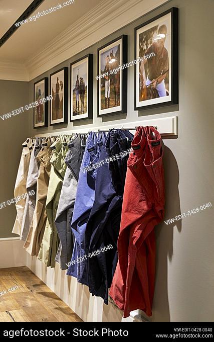 Trouser display. Hackett Regent Street 2019, London, United Kingdom. Architect: n/a, 2019