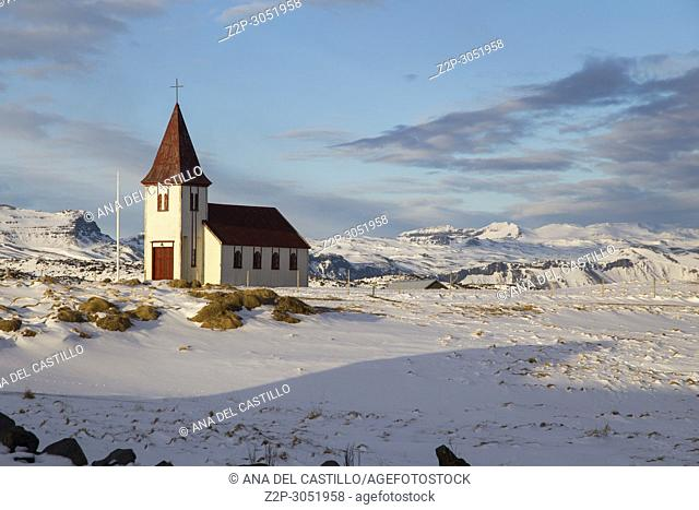 Hellnar Church and Snaefells peninsule Glacier, Snaefellsnes, Iceland