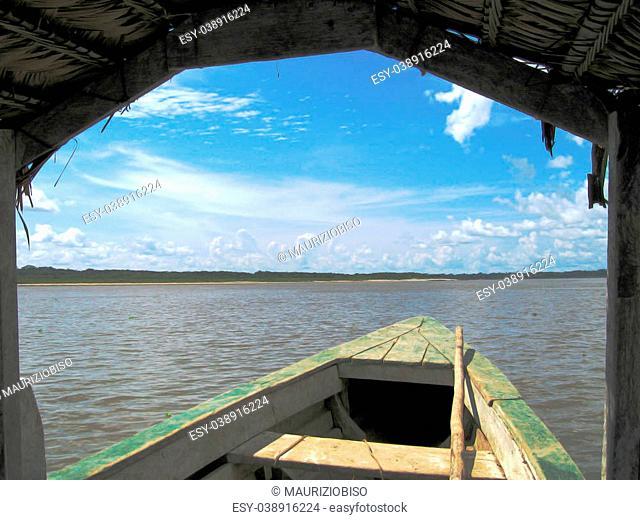 Amazin river seen from a boat, Peru area