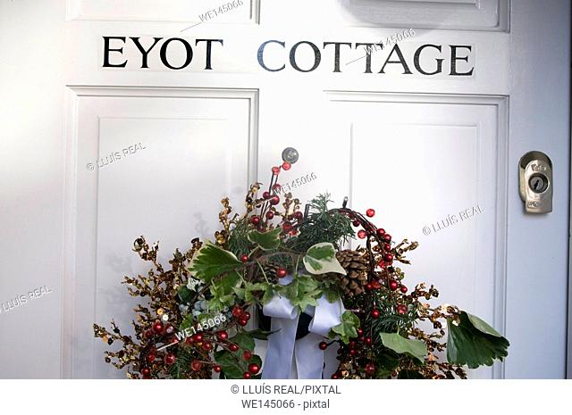 Christmas decoration, door, Chelsea, London, England