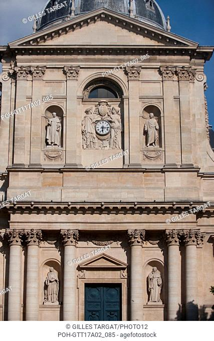 France, Ile de France region, Paris, place de la sorbonne, facade of the Sorbonne Chapel, boulevard Saint Michel, Photo Gilles Targat