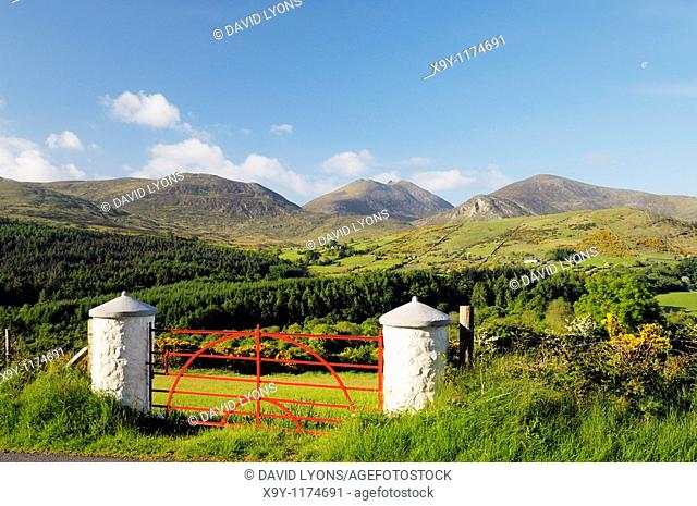 The Mourne Mountains, County Down, Northern Ireland  South over the Trassey Valley and Tollymore Forest Park to Slieve Bearnagh