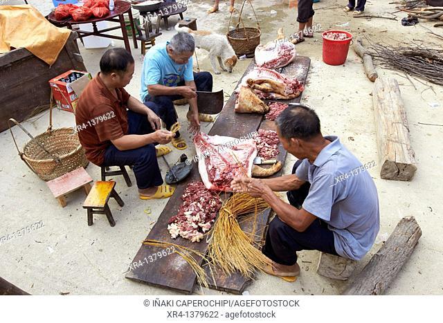 Celebration of a funeral, Zhaoxing, Guizhou, China