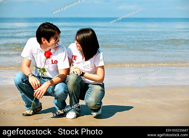 romantic couples, each other seeing eyes on the beach