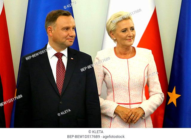September 5, 2018. Warsaw, Poland. Presidential Couple met with paralympians. In the photo: President Andrzej Duda and the First Lady Agata Duda