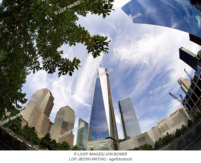 Fisheye view of the new One World Trade Centre and Memorial Fountain at Ground Zero