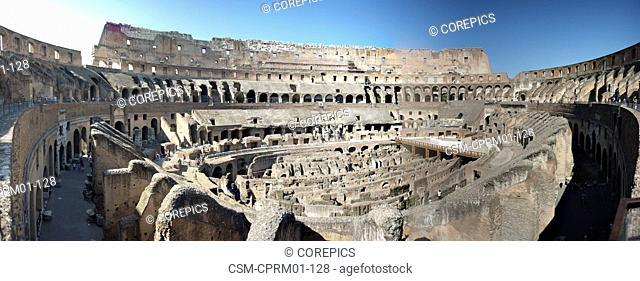 Panoramic interior of the Colloseum in Rome