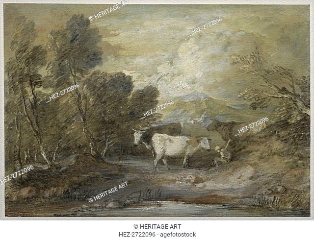 A Herdsman with Three Cows by an Upland Pool, mid 1780s. Creator: Thomas Gainsborough (British, 1727-1788)