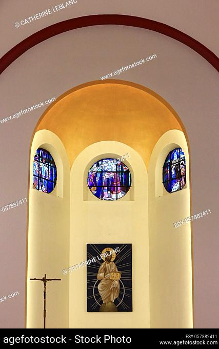 Stained glass windows of Our Lady of Lourdes. The Annunciation, the Visitation and the Nativity. Works by Albert Gsell (1867-1951) and Henri Ripeau deposited in...