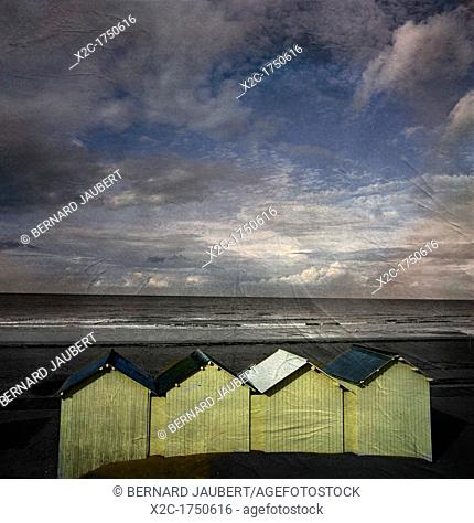 Beach huts under a stormy sky, vintage-look, Normandy, France, Europe