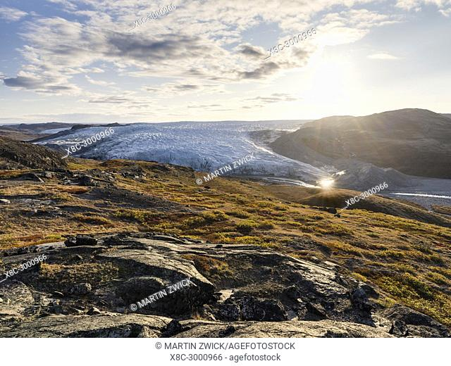 The Russell Glacier. Landscape close to the Greenland Ice Sheet near Kangerlussuaq. America, North America, Greenland, Denmark