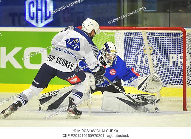 Goalkeeper Luca Hollenstein (Zug) receives the goal from Milan Gulas (Pilsen) in the Ice Hockey Champions League group B match: HC Skoda Plzen - EV Zug