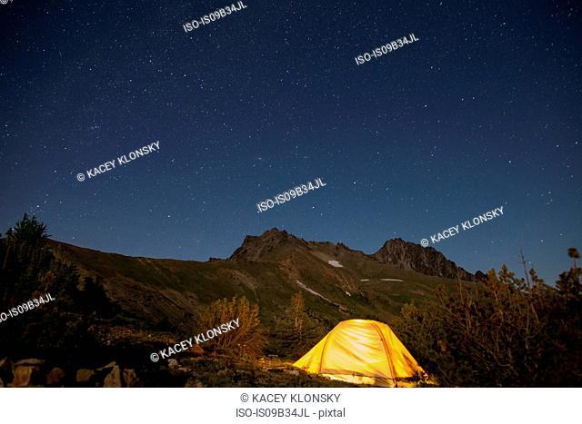 Night camping on hilltop, Enchantments, Alpine Lakes Wilderness, Washington, USA