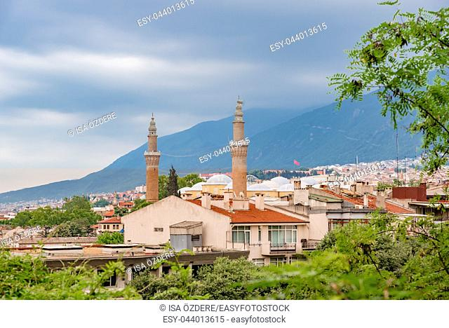 Aerial View of Bursa Grand Mosque or Ulu Cami is largest mosque in Bursa,Turkey. 20 May 2018