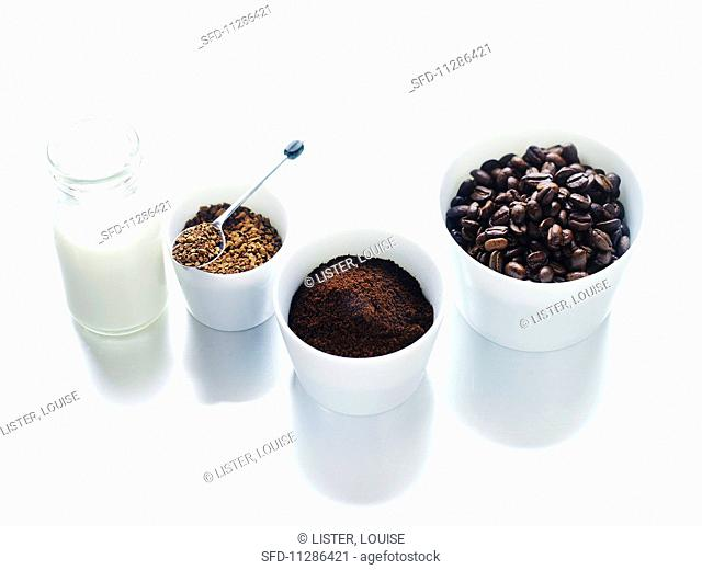 Coffee beans, ground coffee, instant coffee and coffee cream