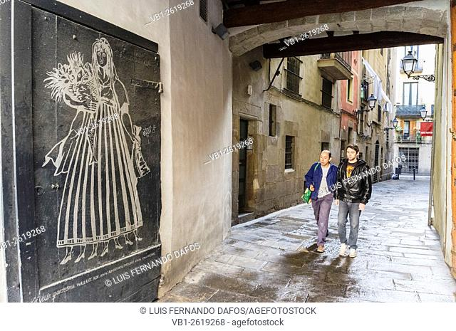 "Image of """"La Vella Quaresma"""" in La Ribera-Born, Barcelona, Catalonia, Spain. Street scene"