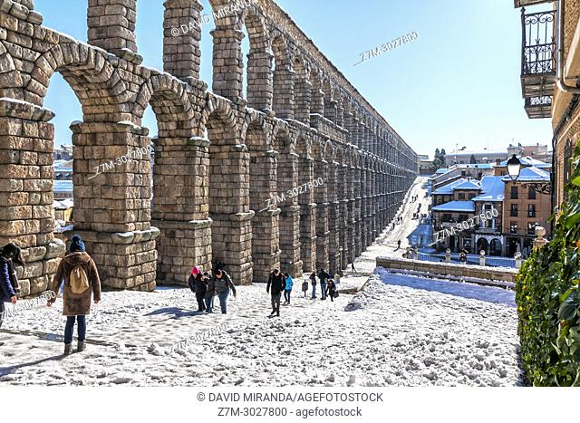 Roman aqueduct, Segovia, snow-covered. Castile-Leon, Spain