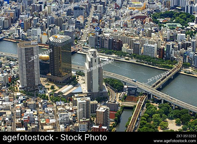 Panoramic modern city skyline bird eye aerial day view with tokyo skytree under dramatic glow in Tokyo, Japan